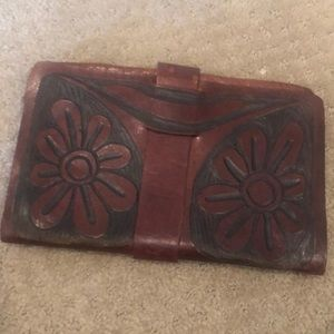 Boho engraved leather flap clutch w/ snap closure